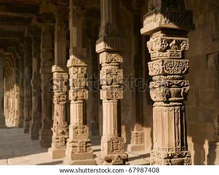 Asia India New Delhi pillars at Qutab Minaret - stock photo
