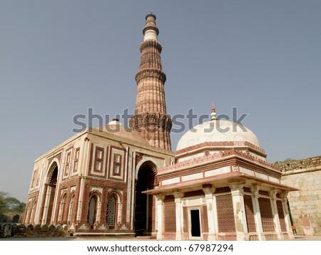 Asia India New Delhi Qutab Minaret - stock photo