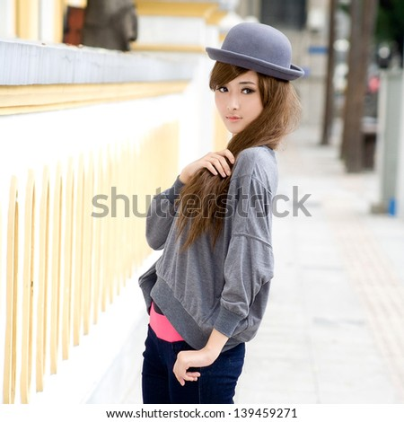 Asia japanese chinese girl with fashion dress - stock photo