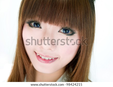 Asia/japanese/chinese/Korean girl with contact lens - stock photo