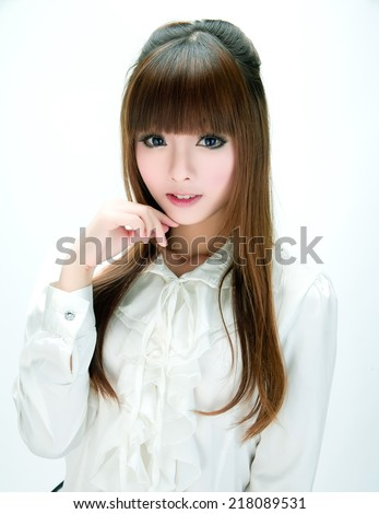 Asia japanese chinese Korean style  girl with contact lens - stock photo