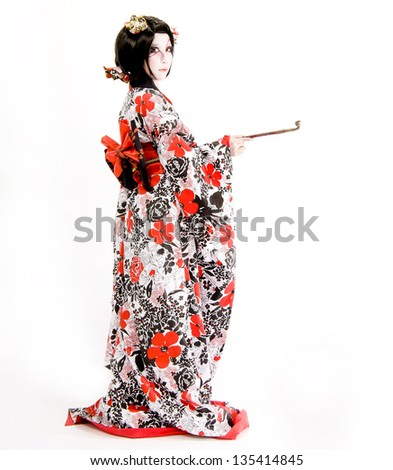 Asia japanese cosplay Kabuki girl - stock photo