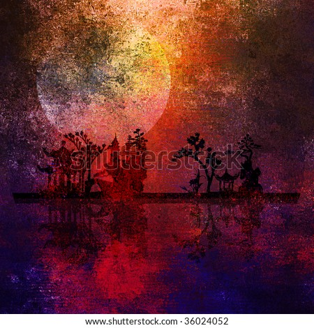 Asia Landscape Textured Painting - stock photo
