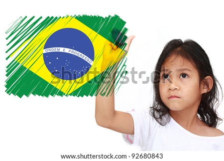 Asia Little girl drawing Flag of brazil on whiteboard