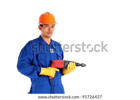 asia man with hand drill. Isolated over white background - stock photo