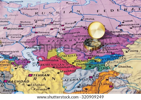 Asia map and compass - travel background - stock photo