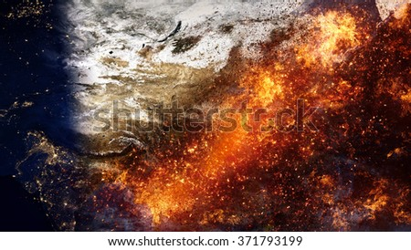 Asia Map Apocalypse Special Effect (Elements of this image furnished by NASA) - stock photo