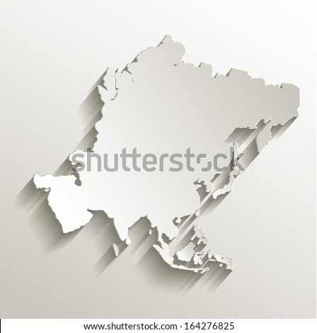Asia map card paper 3D natural raster - stock photo