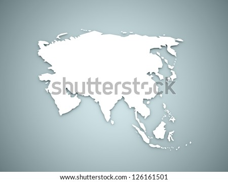 Asia map continent concept on blue background - stock photo