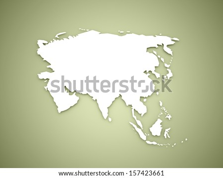 Asia map continent concept on green background - stock photo