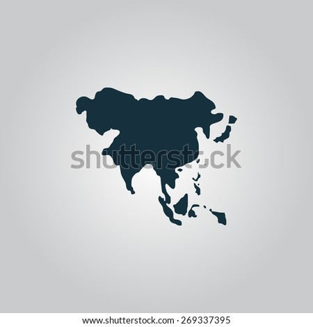 Asia map. Flat web icon, sign or button isolated on grey background. Collection modern trend concept design style illustration symbol - stock photo