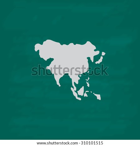 Asia map.  Icon. Imitation draw with white chalk on green chalkboard. Flat Pictogram and School board background. Illustration symbol - stock photo