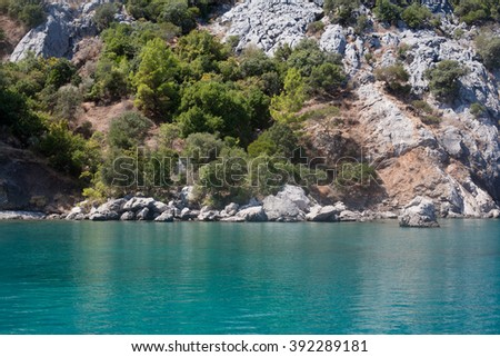 Asia Minor; Turkey; Mediterranean; sea; Chirali; nature; horizontal; outdoor; blue; day; grey; sunny; sunlight; rock; stone; white; water; wave; peddle; green; tree; flora; coastline