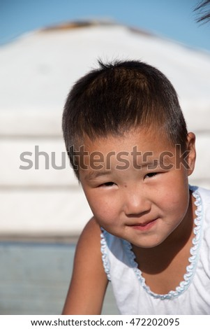 Asia, Mongolia, North Central Mongolia, Hustai National Park, young Mongolian children at play. 2015-08-24