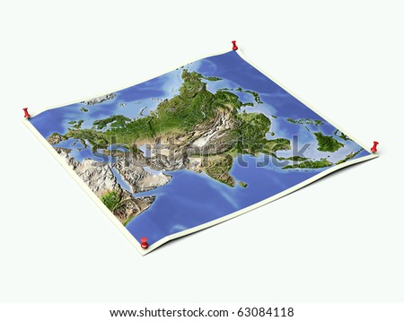 Asia on unfolded map sheet with thumbtacks. - stock photo