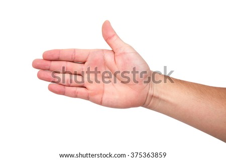 Asia people male hand white and yellow skin nice to meet you, congratulate isolated on a white background - stock photo
