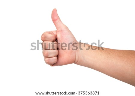 Asia people male hand white and yellow skin very good, great, congratulate isolated on a white background