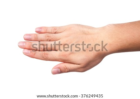 Asia people male hand white and yellow skin with five finger, back hand isolated on a white background - stock photo