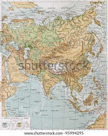 Asia physical map. By Paul Vidal de Lablache, Atlas Classique, Librerie Colin, Paris, 1894 (first edition) - stock photo