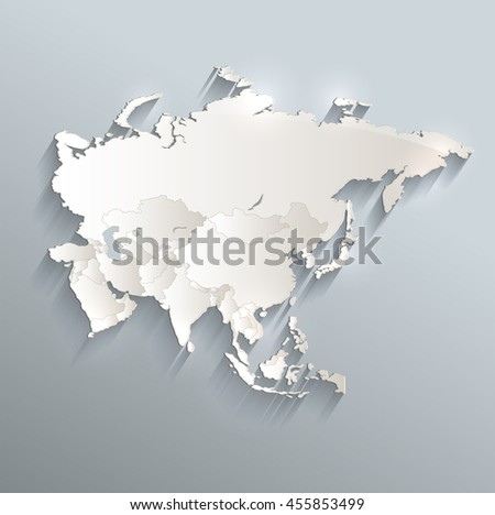 Asia political map 3D raster individual states separate - stock photo