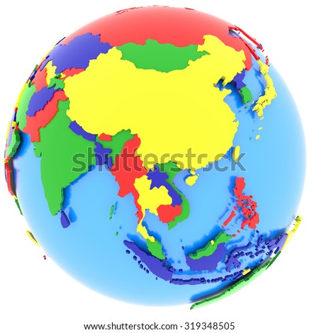 Asia, political map of the world with countries in four colors, isolated on white background. Elements of this image furnished by NASA - stock photo