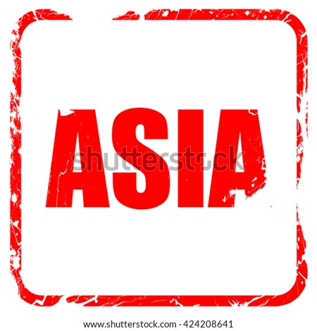 asia, red rubber stamp with grunge edges - stock photo
