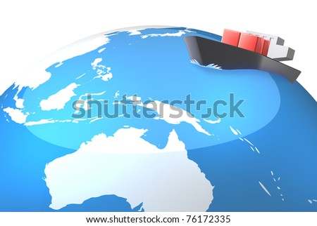 Asia represents the route. This is a computer graphics. - stock photo