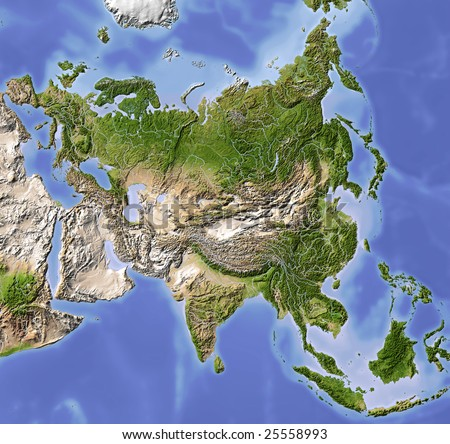 Asia. Shaded relief map. Colored according to vegetation. Includes a clip path for the land area.