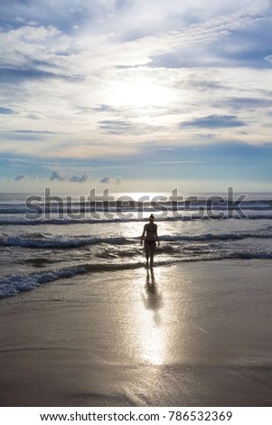 Asia - Sri Lanka - Ahungalla - Feeling free at the lonely beach during sunset