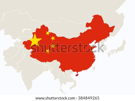 Asia with highlighted China map. Raster copy.  - stock photo