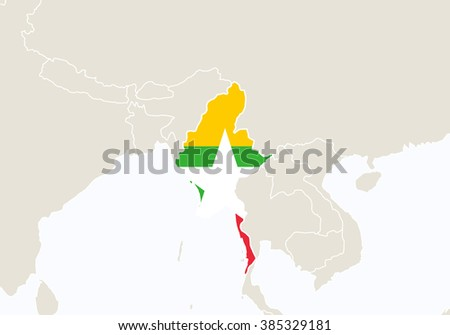 Asia with highlighted Myanmar map. Raster copy.  - stock photo