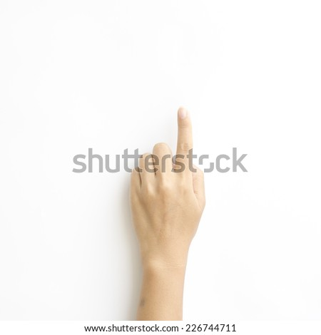 asia woman Hand touching virtual screen on a white background