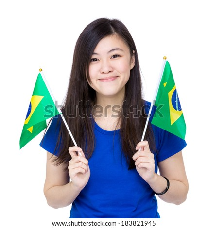Asia woman hold Brazil flag