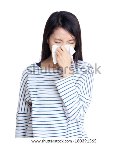 Asia woman sneeze - stock photo