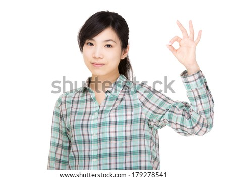 Asia woman with ok hand gesture - stock photo