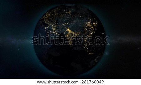 Asia World View from space (with the help of NASA) - stock photo