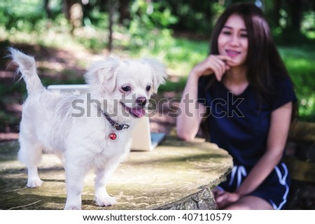 Asia Young happy woman with her dog and laptop - stock photo