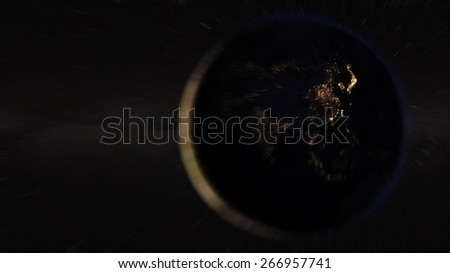 Asia zoom from space (Elements of this image furnished by NASA) - stock photo