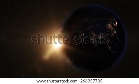 Asia zoom in from space  (Elements of this image furnished by NASA) - stock photo