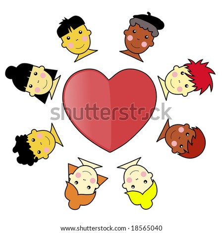 Asian African and Caucasian Multicultural Kid Faces United Around Heart Illustration