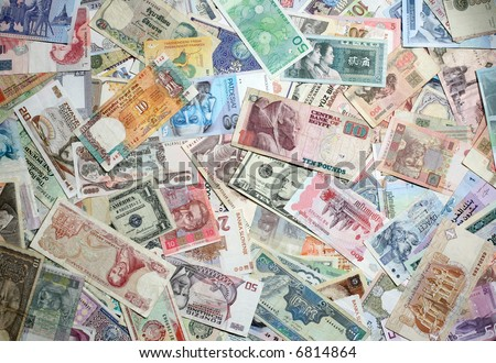 Asian, African and Eastern European exotic banknotes texture