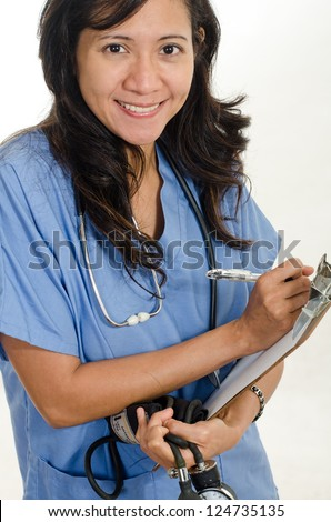 Asian american healthcare worker - stock photo