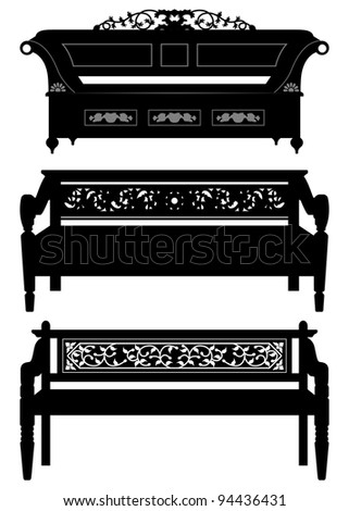 Asian Antique Chair Bench Furniture in Silhouette