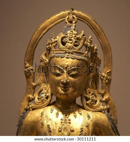 asian antique - golden buddha statue - stock photo