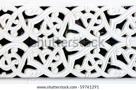 Asian architecture detail made gypsum - stock photo