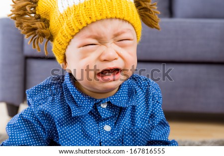 Asian baby boy crying - stock photo