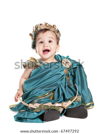 asian baby boy in a amoretto fancy dress - stock photo