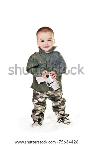 asian baby boy in a military Clothing