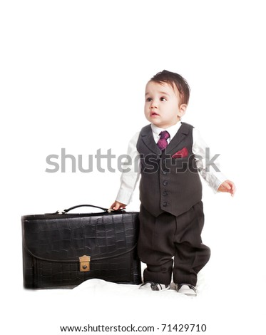 asian baby boy in as a businessman - stock photo