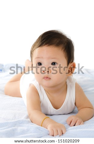 Asian Baby Boy Isolated On The White Background. - stock photo